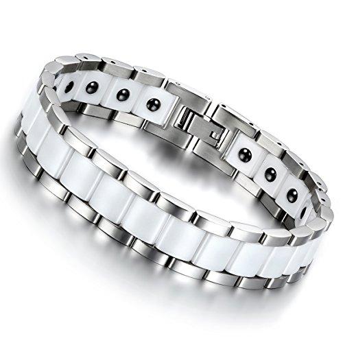 Cupimatch Herren Magnet Edelstahl Keramik Armband, 13mm breite Rechteck Link Handgelenk Magnetarmband Armreif, weiss silber