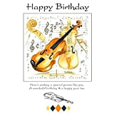 Little Snoring Gifts: 7x5 Happy Birthday Card - Violin Design