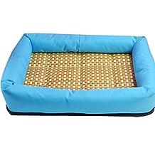 YOUJIA Cómodo Casa para mascotas, Verano Enfriamiento Suave Cama para Perro o Gato Perrera Almohadilla (L: 60*50*7cm, Azul #PVC Fondo)