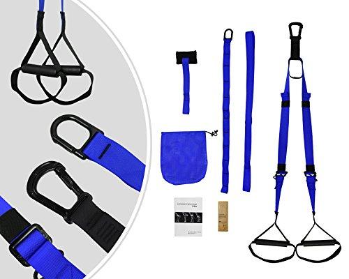 Leogreen - Schlingen-Trainer , Schlingentrainer, Blau, mit Gurt, Material: Hochfestes Polyester, Länge des Verlängerungsriemens: 95 cm