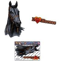 Adesivi per auto animali nero per cavalli - ST00052BK_SML - Adesivi JAS
