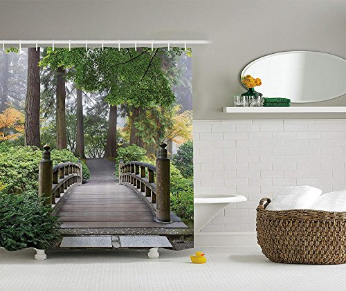 Apartment Decor Collection, Foggy Morning Wooden Bridge at Japanese Garden with Various Types of Trees in Autumn, Polyester Fabric Bathroom Shower Curtain, 60x72 inches Extra Long, Beige Green -