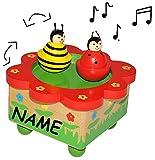 Unbekannt Spieluhr magisch Marienkäfer und Biene - incl. Name - drehende Musikbox Spieldose für Kinder Holz - Musikspieluhr magnetisch tanzende Figuren Tiere Blumen