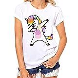 Bekleidung Tops Loveso Sommerkleider Damen Mode Jung Nettes Kühles Einhorn Unicorn Muster Kurzschluss Hülsen Weiß Baumwolle T-Shirt Top Bluse ((Größe):34 (S), Weiß)