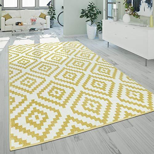 Paco Home Kurzflor Wohnzimmer Teppich Modern Geometrisches Ethno Muster Gelb Weiß, Grösse:70x140 cm - Home Trends Geometrischen Teppich