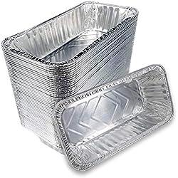 Lot de 50 plats rectangulaires jetables en aluminium, 220x110x55mm, pour la cuisine, les barbecues, les gâteaux, les repas des enfants, les dîners de famille ou entre amis, les mariages