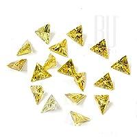 Be You Golden Yellow Colour Cubic Zirconia AAA Quality 4x4 mm Diamond Cut Triangle Shape 500 pcs loose gemstone