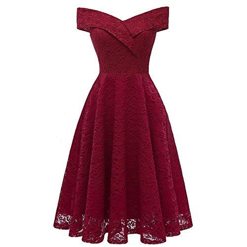 KPILP Damen Cocktailkleider 1950er Vintage Solid Elegante Prinzessin -