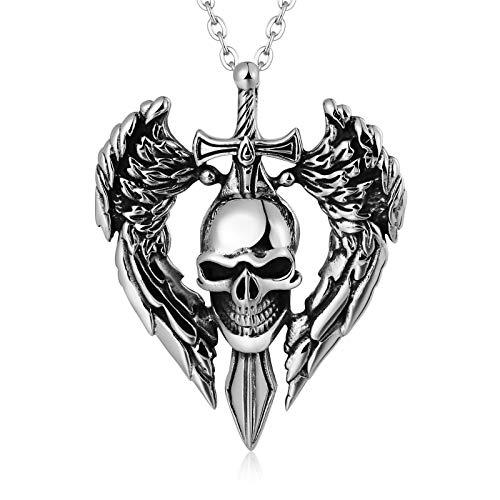 Silber Halskette Vergoldet Halskette Edelstahl Silber Punk Schädel Totenkopf Anhänger Edelstahl Gothic Herrenkette Blisfille