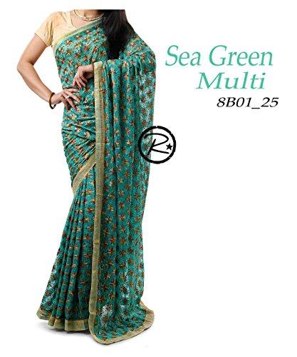 Avni Fashion New Beautiful Phulkari Saree Modern, Fabric Chiffon with Golden Tissue...