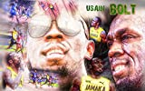 Kunst Bild Usain Bolt schnellster Rekord Läufer, Sport Legende Tapete Mousepad BalsaHolz Aufkleber (120 x 75 cm, Balsa Holz)