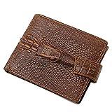 Design Portemonnaie mit Geldklammer und RFID Schutz - QinMM Herren Premium Geldbörse mit Geldscheinklammer - Geldclip & Kartenetui - Kleiner schlanker Geldbeutel - Krokodil