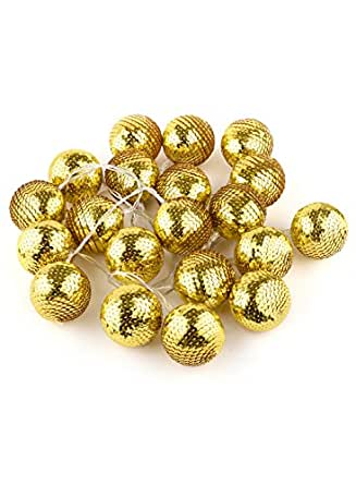 Shining Decors 20LED GOLDEN DISCO Ball Globe Battery Operated LED Fairy Lights String Decoration. Light for Festival, Wedding ,Christmas Decoration, Eid, New year, Good Friday, Valentine, interior decoration (HIGH QUALITY)