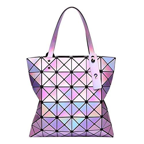 Frauen Variety Folding Schultertasche Handtasche Geometrie Laser-Tasche Purple