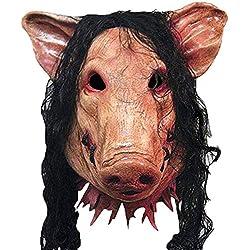 Vidillo Masque de visage Effrayant Horrible Masque de scie Déguisement Tête d'animal Cochon Fantaisie pour fête d'Halloween