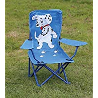 Folding Childrens Kids Chair In Blue Dalmation Design Ideal for Camping Childs Parties Patios BBQs Barbeques Or Just A Kids Bedroom