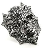 Ring Skull Totenkopf Devil massiv 925 Silber Zirkonia schwarz one-size
