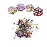 Sharplace 80 Stück Runde Perle Kopf Nähen Schneiderei Pins mit Pins Kissen