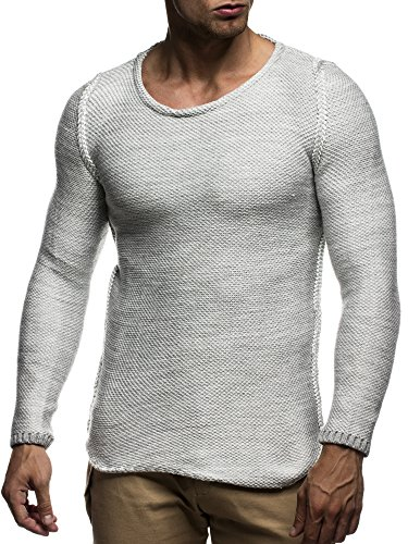LEIF NELSON Herren Strickpullover Pullover Sweatshirt LN20707N; Grš§e M, Grau
