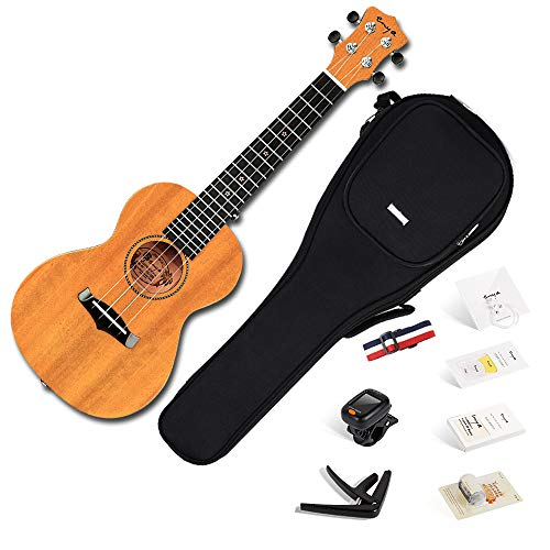 Ukulele Concerto Enya EUC-25D 23 pollici naturale ukelele con top in mogano massiccio, borsa imbottita, accordatore, tracolla, capotasto, corde di scorta, plettri, panno per la pulizia, fingershaker