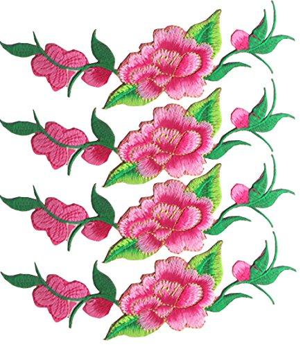 Stickerei Blume Motiv Kragen Nähen auf Patch Applique Abzeichen Gestickt Büste Kleid 4 Stück DIY Blume Stickerei Applikation -