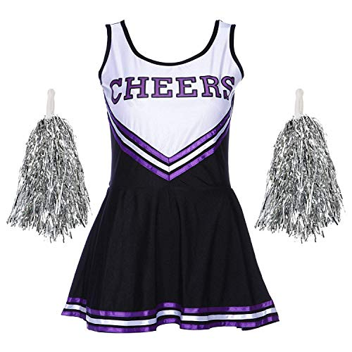 Fadirew Damen Cheerleader-Kostüm, Outfit, College, Kostüm, Sport, Schule, Mädchen, Musikalische Uniform, Party, Halloween, Kostüm, Outfit, 5 Farben, 6 Größen XS ()