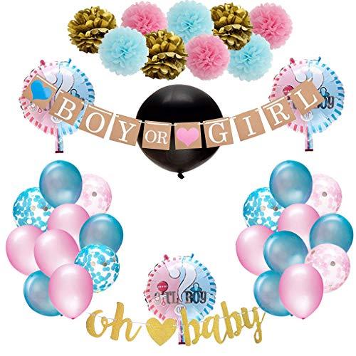 Amycute Gender Reveal Party Dekoration, 35 Stück Babyparty Geschlecht Offenbaren Baby Deko Mädchen Girl oder Junge Boy Banner Luftballons Rosa Blaue Konfetti Ballon Foto Requisiten. (Dekorationen Reveal Party)