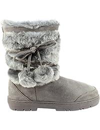 Femmes Fur Grand Doublé Bobble semelle épaisse Bottes de neige