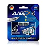 #5: Zlade 4 Blade Shaving Cartridges with Safe Edge Technology, Fit All Zlade Razors, Made in Germany - Pack of 2