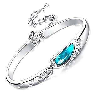 """Rolicia """"Larme De Verre"""" Argenterie Bleu Cristal Tchèque 17 + 5 Cm Bracelet à Maillons De Bracelet"""