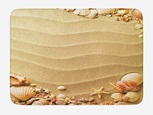 Muccum Beach Bath Mat Nautical Composition with Sandy Beach Frame Surrounded by Various Sea Shells Plush Bathroom Decor Mat with Non Slip Backing 29.5 W X 17.5 L Inches Sand Brown Coral