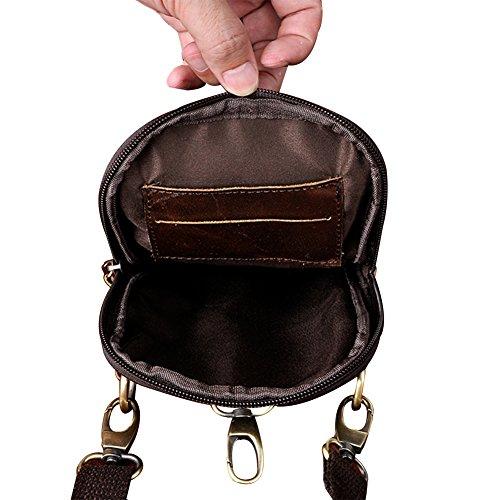 Genda 2Archer Borsa Mini Cellulare Sacchetto di Vita Della Cinghia Borsa a Tracolla (16cm* 2.5cm*21 cm) (Giallo) Caffè