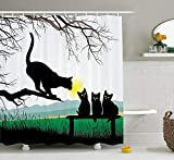 Cat Shower Curtain by Ambesonne, Mother Cat on Tree Branch and Baby Kittens in Park Best Friends I Love My Kitty Graphic, Fabric Bathroom Decor Set with Hooks, 70 Inches, Multi