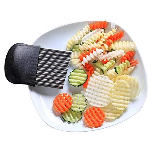 Erfula Cortador Ondulado de Acero Inoxidable, Cortador de Patatas Fritas con Utensilios de Cocina para Cortar Patatas, Batatas, Frutas y Verduras