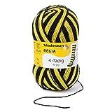 Regia 4-fädig Color 9801269-05391 schwarz/gelb Handstrickgarn, Sockengarn, 100g Knäuel
