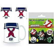 Set: Ghostbusters, 3, Stay Puft Foto-Tasse Kaffeetasse (9x8 cm) Inklusive 1 Ghostbusters Button Pack (15x10 cm)