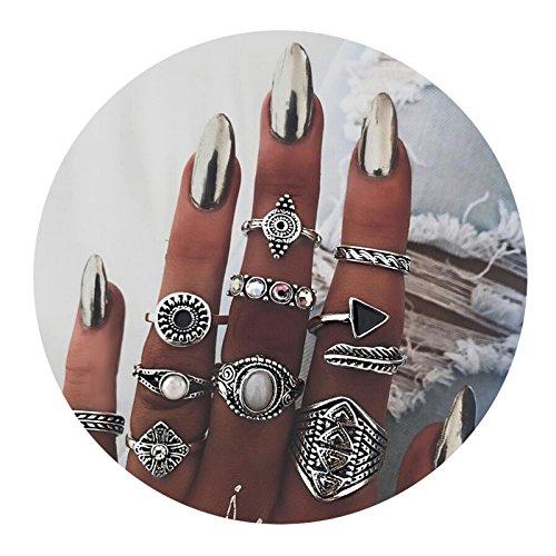 AMDXD 10 Stücks Ringe Set Mädchen Zirkonia Runde Dreieck Midi Ring Silber Ring Set Punk