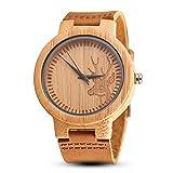 gorben Herren Bambus Holz Armbanduhr Rindsleder Leder Gurt Gravur Hirsch Armbanduhren Quarz-Uhrwerk Holz Uhren für Männer Frauen Creative Geburtstag Schule Geschenk