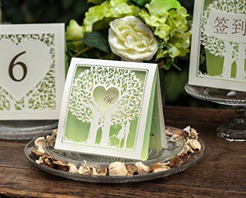 10 Laser Geschnitten Wunschbaum Herz Grün Hochzeitseinladung Karte DIY Personalisierte