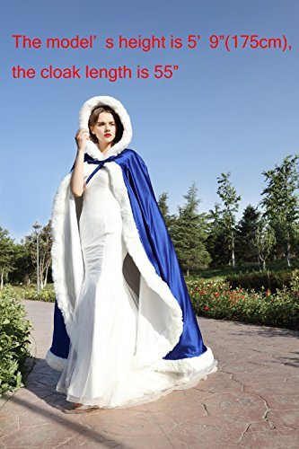 Umhang Damen Mit Kapuze Cape Hochzeit Braut Winter Mit Pelzbesatz in Voller Länge Mehrere Farben FREIER HAND MUFF von BEAUTELICATE Silber