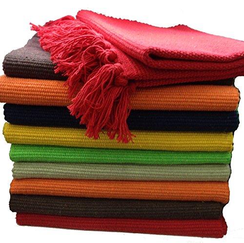 Fleckerlteppich Baumwolle Handweb Teppich Flickenteppich Fleckerl Handwebteppich (45 x 80cm, orange)