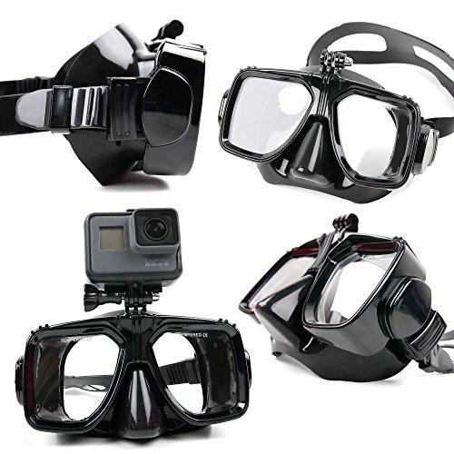 DURAGADGET Maschera Subacquea + Supporto Action Camera Compatibile con TecTecTec XPRO2 | ThiEYE T5e | Vemico | Vemico 4K | Victure | WiMiUS L1 - Nuoto Immersioni Snorkeling - Colore Nero