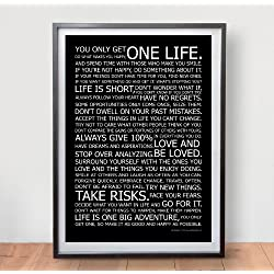 Póster con frases de la vida, a modo de manifiesto. Muy inspirador.