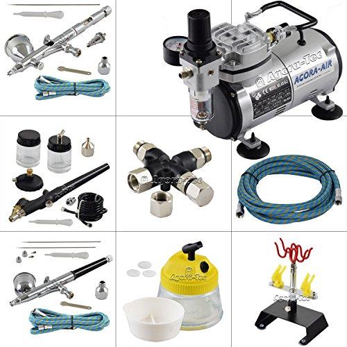 Agora-Tec® Airbrush Komplett-Set EXPERT XII.13, inkl. Kompressor mit 4 bar und 20l/min + 3 Airbrushpistolen mit 0,2 & 0,3 & 0,5 & 0,8mm Nadeln/Düsen + 3-fach Luftdruckverteiler + 4-fach-Halter + Clean-Pot + 3 Schläuche + Adapter