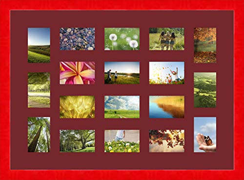 Bilderrahmen multivues Burgund 6 Foto(s) 10x15 and 12 Foto(s) 15x10 Passepartout Schrägschnitt, Wand Bilderrahmen 88x63 cm Galerie Leuchtend Rot, 4 cm Breiten Holzleisten