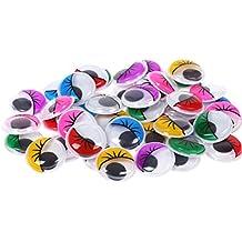 zhouba 100selbstklebend Wiggly Kulleraugen mit Wimper DIY Craft Zubehör gemischt Farbe 2cm Zufällige Farbauswahl