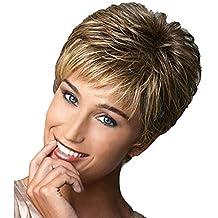 Honestyi Parrucca da Donna Corti Parrucche Capelli Veri Ricci Wigs Lisci  Resistente al Calore Fashion Comoda 206a7c8fa376