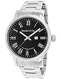 Boudier & Cie BSSM208 - Reloj de Cuarzo Analogico con movimiento Suizo para hombre, Esfera negra, Correa plateada