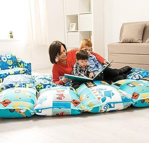 Children's Construction Print Folding Pillow Sleepover Nap Mat