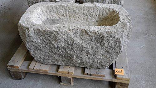 Der Naturstein Garten Alter Trog aus Granit 69 cm lang Brunnen Steintrog - G1249 Granittrog Waschbecken
